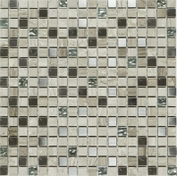 Mini Grey Stone and Stainless Steel Square Mosaic Tile JSDF6