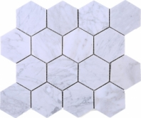 Hexagon White Carrara Marble Mosaic Tile JWHCA2
