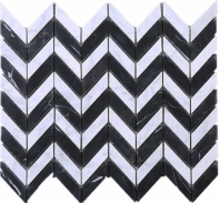 Chevron Black Marquina and White Carrara Wave Marble Mosaic Tile JWHCA5