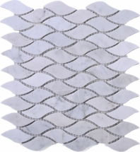 Wave White Carrara Marble Mosaic Tile JWHCA8