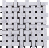 White Carrara Basketweave Stone Mosaic Tile JWHCA9