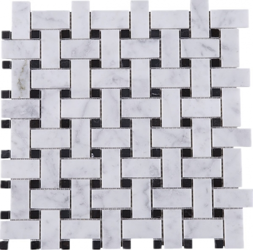White Carrara Basketweave Stone Mosaic Tile JWHCA9