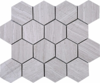 Wooden Grey Hexagon Stone Mosaic Tile JWOBE2