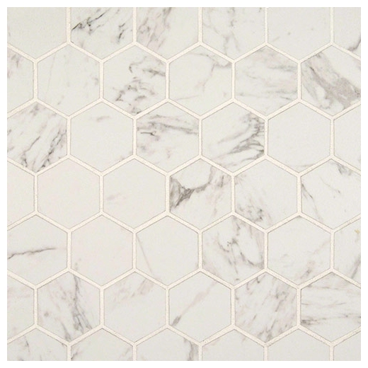 "MSI Carrara Matte 2"" Hexagon Mosaic Tile"
