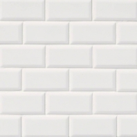 MSI White 2x4 Staggered Beveled Mosaic Tile
