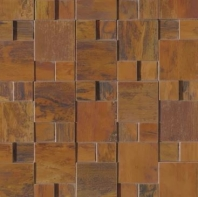 Bedrosians Acadia Brown 3D Metal Square Mosaic Tile