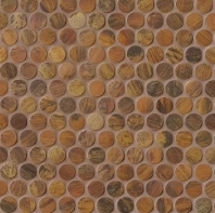 Bedrosians Acadia Brown Metal Penny Round Tile