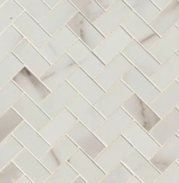 Bedrosians Calacatta Herringbone Porcelain Polished Mosaic Tile
