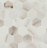 Bedrosians Calacatta Hexagon Porcelain Polished Mosaic Tile
