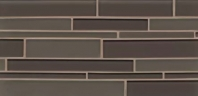 Bedrosians Hamptons Brown Linear Interlocking Glass Mosaic Tile