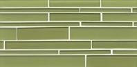 Bedrosians Hamptons Linear Interlocking Green Glass Tile