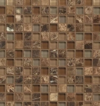 Bedrosians Interlude Glass and Stone Brown Mosaic Tile- GLSILDDUE34MOB