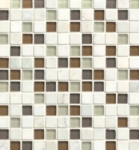 Bedrosians Interlude Glass and Stone Brown Mosaic Tile- GLSILDENC34MOB