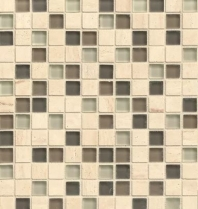 Bedrosians Interlude Glass and Stone Beige Mosaic Tile- GLSILDFAL34MOB