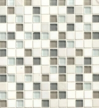 Bedrosians Interlude Glass and Stone White 3/4 x 3/4 Mosaic Tile