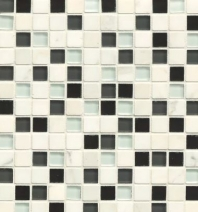 Bedrosians Interlude Glass and Stone White Mosaic Tile- GLSILDHYM34MOB