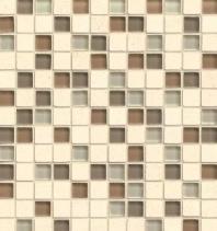 Bedrosians Interlude Glass and Stone Beige Mosaic Tile- GLSILDMAE34MOB