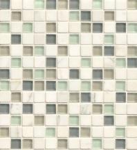 Bedrosians Interlude Glass and Stone White Mosaic Tile- GLSILDMIN34MOB