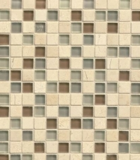 Bedrosians Interlude Glass and Stone Beige Mosaic Tile- GLSILDMUS34MOB