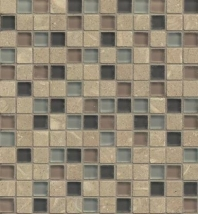 Interlude Glass and Stone Brown Mosaic Tile- GLSILDOCT34MOB