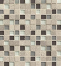 Bedrosians Interlude Glass and Stone Grey Mosaic Tile- GLSILDPRE34MOB