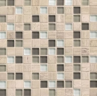 Bedrosians Interlude Glass and Stone Grey Mosaic Tile- GLSILDSTA34MOB