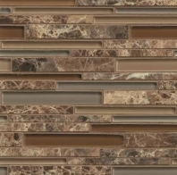 Bedrosians Interlude Glass and Stone Brown Mosaic Tile- GLSILDDUERIB