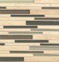 Bedrosians Interlude Glass and Stone Beige Mosaic Tile- GLSILDFALRIB