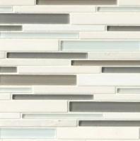 Bedrosians Interlude Glass and Stone White Mosaic Tile- GLSILDHARRIB