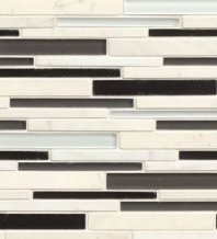 Bedrosians Interlude Glass and Stone White Mosaic Tile- GLSILDHYMRIB