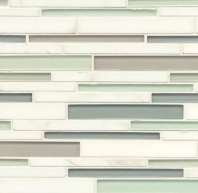 Bedrosians Interlude Glass and Stone White Mosaic Tile GLSILDMINRIB