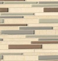 Bedrosians Interlude Glass and Stone Beige Mosaic Tile GLSILDMUSRIB