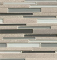 Bedrosians Interlude Glass and Stone Grey 12x12 Mosaic Tile