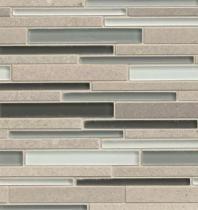 Bedrosians Interlude Glass and Stone Grey Mosaic Tile- GLSILDPRERIB