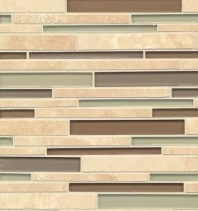 Bedrosians Interlude Glass and Stone Beige Mosaic Tile- GLSILDTRERIB