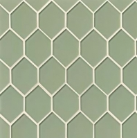 Mallorca Glass Fern Hexagon Tile GLSMALFERART