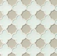Mallorca Glass White Linen / Mist Floral Tile GLSMALWHLMISFLO