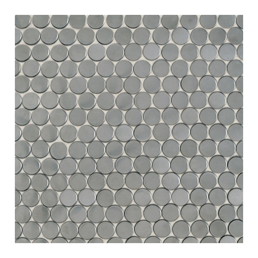 Metalica Penny Round Mosaic in Brushed Stainless Steel SS50