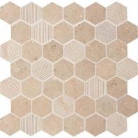 "Limestone Corton Sable 2"" Hexagon Mosaic L340"