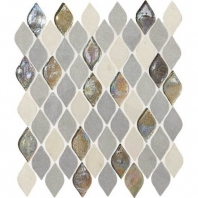 Decorative Accents Gris Et Blanc Raindrop Leaf Mosaic DA19