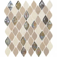 Decorative Accents Blanc Et Beige Raindrop Leaf Mosaic DA20