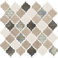 Decorative Accents Blanc Et Beige Baroque Arabesque Mosaic DA20