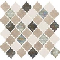 Decorative Accents Blanc Et Beige Baroque Arabesque Mosaic DA20