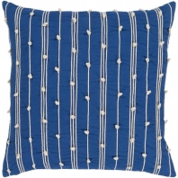 Surya Accretion Blue Textured Stripe Coastal Throw Pillow ACT004
