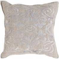Surya Adeline Gray Medallions and Damask Throw Pillow AD001
