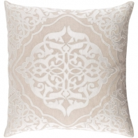Surya Adelia Beige Medallions and Damask Throw Pillow ADI001