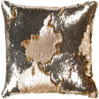 Surya Andrina Gold Sequin Texture Throw Pillow ADN001