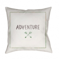 Surya Adventure II White Scandinavian Throw Pillow ADV002