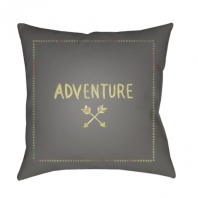 Surya Adventure II Gray Scandinavian Throw Pillow ADV003