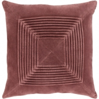 Surya Akira Red Textured Stripe Squares Throw Pillow AKA003